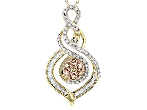 Champagne And White Diamond 10k Yellow Gold Pendant 1.00ctw