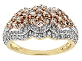 Champagne And White Diamond 10k Yellow Gold Ring 1.00ctw