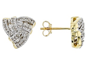 White Diamond 14k Yellow Gold Earrings .27ctw