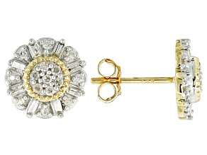 White Diamond 14k Yellow Gold Earrings .30ctw