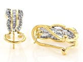 White Diamond 10k Yellow Gold Earrings .68ctw