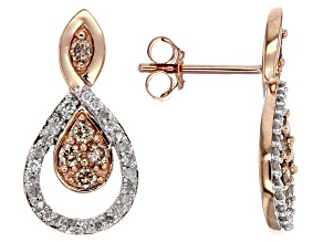 Champagne And White Diamond 10k Rose Gold Earrings .50ctw