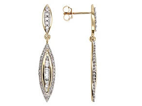 White Diamond 10k Yellow Gold Earrings .50ctw
