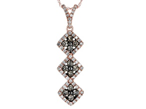 Champagne And White Diamond 10k Rose Gold Pendant .70ctw
