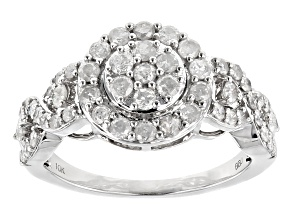 White Diamond 10k White Gold Ring 1.03ctw