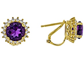 Purple amethyst 18k yellow gold over silver earrings 3.73ctw