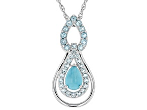 Blue turquoise rhodium over silver pendant/slide  with chain 1.46ctw