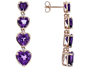 Purple African amethyst 18k rose gold over silver earrings 6.79ctw