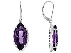 Purple amethyst rhodium over silver earrings 11.90ctw