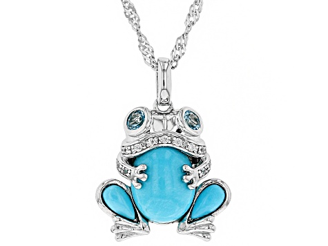 Blue turquoise rhodium over silver frog pendant with chain .33ctw