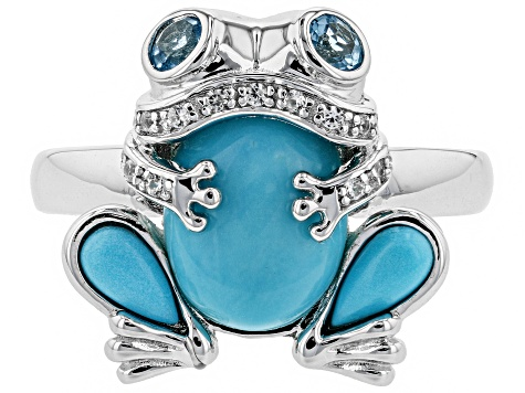 Blue turquoise rhodium over silver frog ring .33ctw