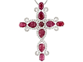 Red ruby rhodium over silver cross pendant with chain 7.58ctw