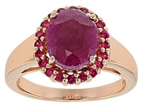 Red Ruby 18k Rose Gold Over Silver Ring 3.38ctw