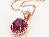 Red Ruby 18k Rose Gold Over Silver Pendant with Chain 3.38ctw