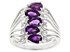 Purple amethyst rhodium over sterling silver ring 1.80ctw