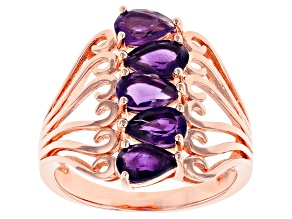 Purple amethyst 18k rose gold over sterling silver ring 1.80ctw