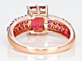 Red lab created bixbite 18k rose gold over silver ring 2.52ctw