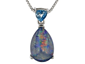 Blue Australian Opal Triplet Rhodium Over Silver Pendant With Chain .27ct