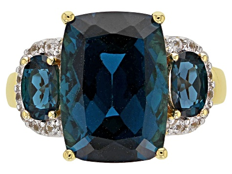 London Blue Topaz 18k Gold Over Silver Ring 8.16ctw