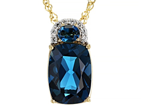London Blue Topaz 18k Gold Over Silver Pendant with Chain 7.52ctw