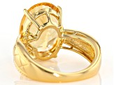 Yellow citrine 18K gold over sterling silver solitaire ring 6.80ct