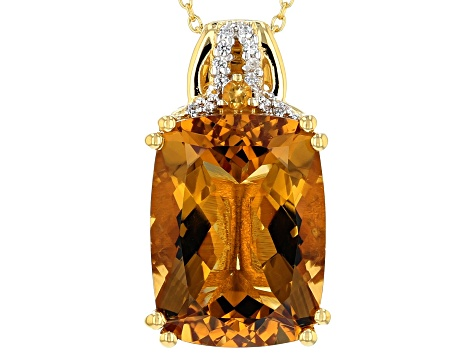 Yellow Citrine 18k Yellow Gold Over Sterling Silver Pendant with Chain 8.59ctw