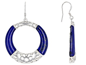 Blue lapis lazuli sterling silver circle earrings