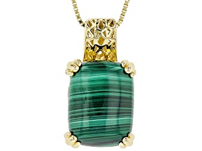 Green Malachite 18k Yellow Gold Over Sterling Silver Pendant With Chain