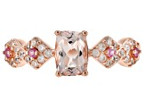 Pink morganite 18k rose gold over silver ring .92ctw