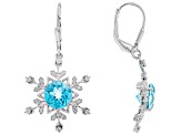 Blue Flora(TM) Mystic Quartz(R) silver earrings 3.18ctw