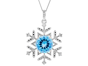Blue Flora(TM) Mystic Quartz(R) silver pendant with chain 4.59ctw