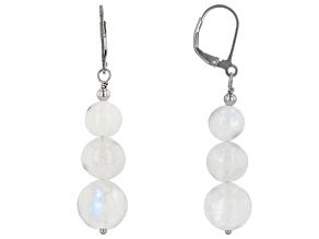 White rainbow moonstone bead rhodium over silver earrings