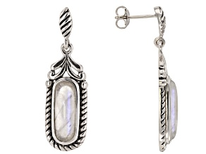 White rainbow moonstone rhodium over sterling silver earrings