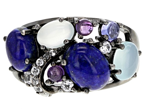 Blue lapis lazuli black rhodium over silver ring .18ctw