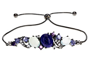 Blue lapis lazuli multi stone black rhodium over silver bolo bracelet .75ctw