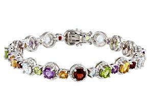 Multi-Color Multi Gemstone Rhodium Over Sterling Silver Bracelet 10.50ctw