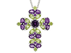 Purple African Amethyst Rhodium Over Silver Cross Pendant With Chain 3.50ctw