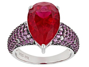 Red lab created ruby rhodium over silver ring 6.57ctw