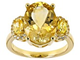 Yellow citrine 18k gold over sterling silver ring 5.66ctw