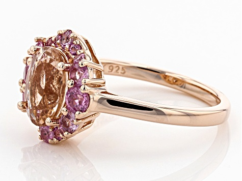 Pink morganite 18k rose gold over silver ring 1.98ctw