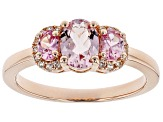 Pink morganite 18k rose gold over silver ring 1.06ctw