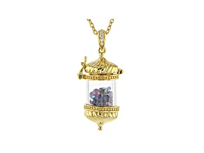 Multi Color Multi Gemstone 18k Yellow Gold Over Sterling Silver Pendant With Chain 5.00ctw
