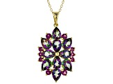 Green Mystic Topaz® 18k Gold Over Silver Pendant With Chain 7.76ctw