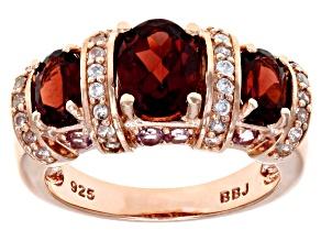 Red Vermelho Garnet™ 18k Rose Gold Over Silver Ring 2.70ctw