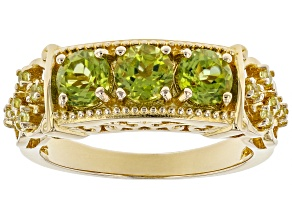 Green peridot 18k gold over silver gent's ring 1.82ctw