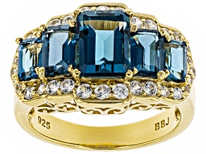 London Blue Topaz 18k Gold Over Silver Ring 4.16ctw