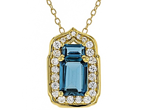 London Blue Topaz 18k Gold Over Silver Pendant/Slide With Chain