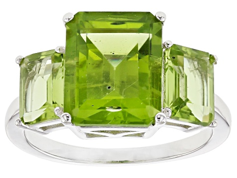 Green Peridot Rhodium Over Sterling Silver 3-Stone Ring 6.72ctw