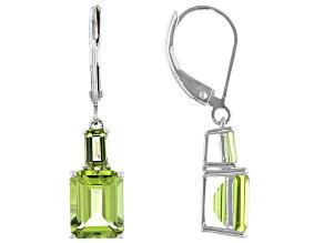 Green Peridot Rhodium Over Silver Earrings 4.74ctw