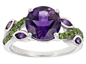 Purple African Amethyst Rhodium Over Sterling Silver Ring 2.49ctw